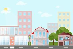 Buildings houses village architecture. Modern flat style vector illustrations Royalty Free Stock Images