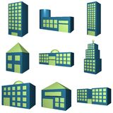Buildings Icon Set in 3d. Blue and green Stock Images
