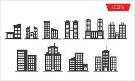 Buildings icon set city symbols Royalty Free Stock Images