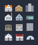 Buildings icon set Royalty Free Stock Photo