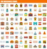 100 buildings icon set, flat style. 100 buildings icon set. Flat set of 100 buildings icons for web design stock illustration
