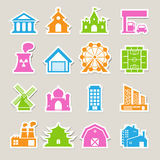 Buildings icon set Royalty Free Stock Photography