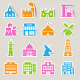 Buildings icon set Royalty Free Stock Photos
