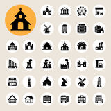 Buildings icon set Stock Photos