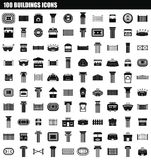 100 buildings icon set, simple style. 100 buildings icon set. Simple set of 100 buildings icons for web design isolated on white background royalty free illustration