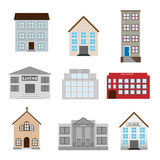 Buildings icons. Set of nine buildings icons for your design isolated on white background.EPS file available Stock Images