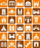 Buildings icons. Some icons related with buildings and architecture Royalty Free Stock Photos