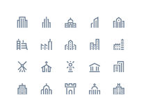 Buildings icons. Line series Royalty Free Stock Image