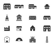 Buildings icons set Royalty Free Stock Photo