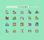 Buildings Icons Set. City buildings icons. Set of thin lines color icons on green background. For web site construction, mobile applications, banners, corporate Royalty Free Stock Images