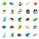 Buildings icons set, isometric style. Buildings icons set. Isometric set of 25 buildings vector icons for web isolated on white background Stock Photos