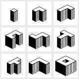 Buildings icons Stock Photos