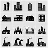Buildings icons. 16 buildings. Vector icons for web site royalty free illustration