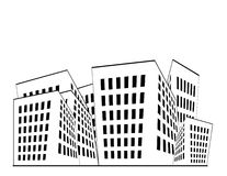 Buildings Illustration. Building illustration in black and white with white space above vector illustration