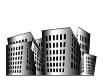 Buildings Illustration. Building illustration in black and white gradient with white space above stock illustration