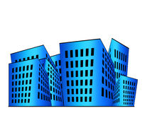Buildings Illustration. Building illustration in blue gradient with white space above royalty free illustration