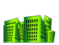 Buildings Illustration. Building illustration in green gradient with white space above stock illustration