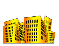 Buildings Illustration. Building illustration in orange and yellow gradient with white space above vector illustration