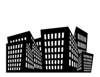 Buildings Illustration. Illustration of black and white buildings with white space above royalty free illustration
