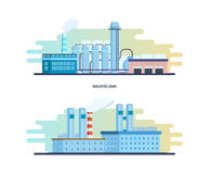 Buildings of an industrial and chemical plants, stations, resource work. Royalty Free Stock Photography