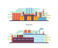 Buildings of an industrial and helium plant, stations, resource work. Royalty Free Stock Image
