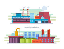 Buildings of an industrial and petroleum plants, stations and reactors. Royalty Free Stock Image