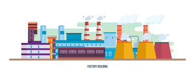 Buildings of an industrial plant, stations, reactors. Industrial factory building. Royalty Free Stock Image