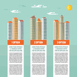 Buildings - infographic vector concept. Numbered options, vertical blocks. Buildings illustration in flat design style. Stock Image