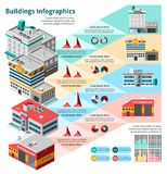 Buildings Infographics Set Stock Image