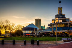 Buildings in the Inner Harbor at sunset, in Baltimore, Maryland. Stock Image
