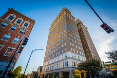 Buildings and intersection in downtown Winston-Salem, North Caro Stock Image