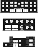 Buildings isolated on white background in flat. Different types of buildings in a flat style Stock Photos