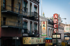 Buildings on Jackson Street, in Chinatown, San Francisco, Califo Stock Photography