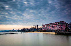 Buildings and jettys along the shore in North Beach, Maryland. Royalty Free Stock Photos