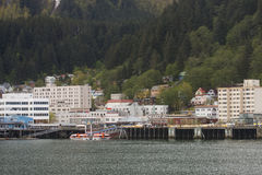 Buildings in Juneau Alaska from Sea Stock Photo