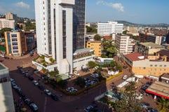 Buildings at Kampala Road intersection, downtown Kampala, Uganda. Aerial view of buildings at intersection of Kampala Road and Colville Street looking northeast Stock Photo