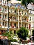Buildings in Karlovy Vary. Karlovy Vary is a popular tourist destination, especially known for international celebrities visiting for spa treatment. The city is royalty free stock photo
