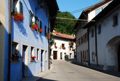Buildings in Kobarid. Residential buildings in the north west Slovenian village of Kobarid in the Littoral region Stock Photos