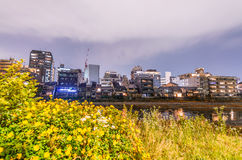 Buildings of Kyoto with river reflections, Japan Stock Photography