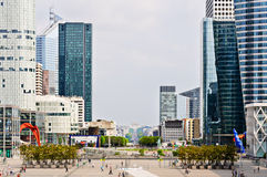 Buildings of La Defense and the Ac de Triomphe, Paris, France. Buildings of La Defense and the Arc de Triomphe Stock Photos