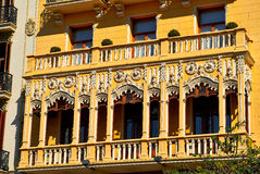 Buildings with lace fronts of city Valencia  Spain Stock Photography