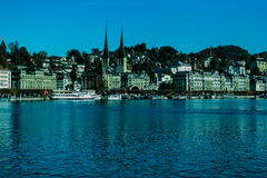 Buildings and lake. There are many buildings along Lucerne lake at Lucerne in Switzerland Royalty Free Stock Photography