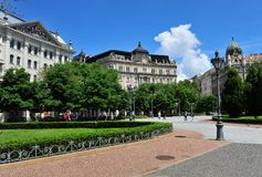 Buildings in the Liberty square, Budapest Royalty Free Stock Image