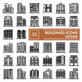 Buildings line icon set, hous symbols collection, vector sketches, logo illustrations, architecture signs linear royalty free stock photography