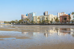 Buildings Lining  Esplanade at Low Tide Durban South Africa Royalty Free Stock Photo