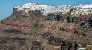 Buildings on the lip of the Santorini Crater in Greece Stock Photography