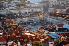 Buildings in Lisbon Portugal. A view overlooking buildings and a plaza or square in Lisbon, Portugal Stock Images
