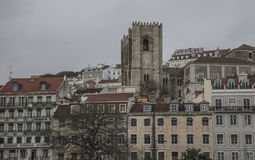 Buildings in Lisbon, Portugal; gloomy day. Stock Images