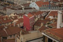 Buildings in Lisbon, Portugal; red roofs. An image of the city of Lisbon. Townhouses viewed from the above Stock Photography