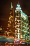 Buildings lit up at night Stock Photos